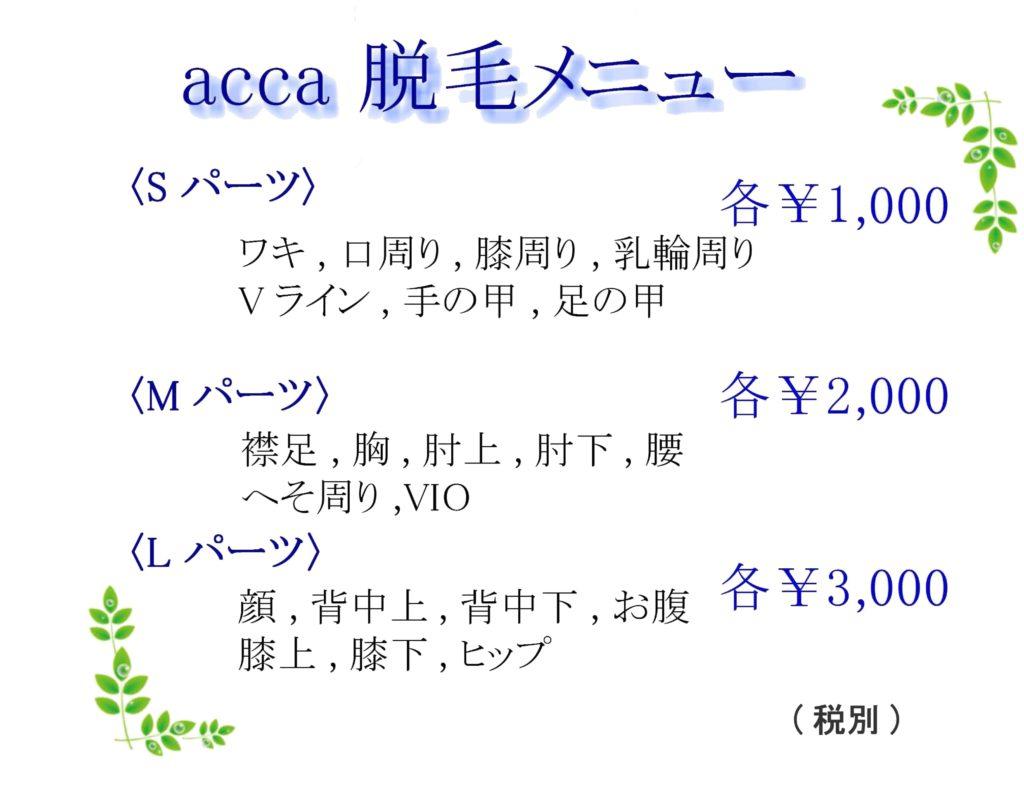 acca_脱毛メニュー